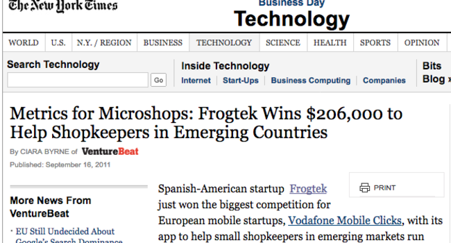Frogtek Wins $206,000 to Help Shopkeepers in Emerging Countries - The New York Times