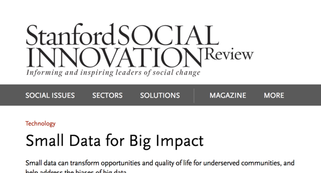 Small Data for Big Impact - SSIR
